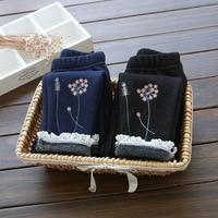 Meninas do bebê calças de inverno crianças lã grossa flor impresso leggings de renda casuais calças crianças roupa da criança azul escuro preto