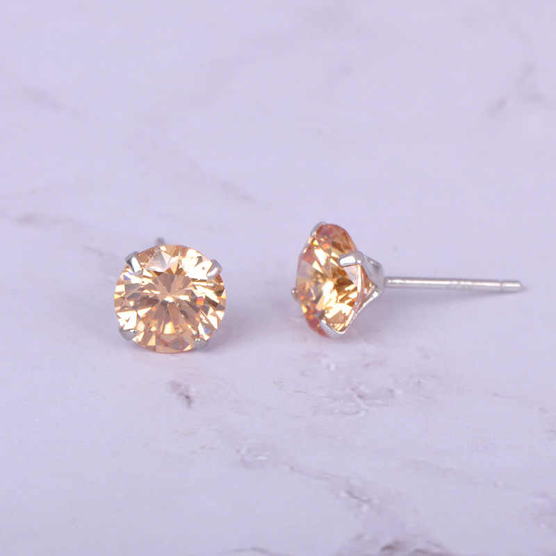 Funmor 7MM Real 925 Sterling Silver  Stud Earrings For Women Round Zircon CZ Jewelry Crystal Studs for Party Drop Shipping