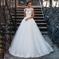 2017 New Arrive Lace Wedding Dress Applique Puffy White Tulle Wedding Gowns Vestido De Noiva Robe De Mariage