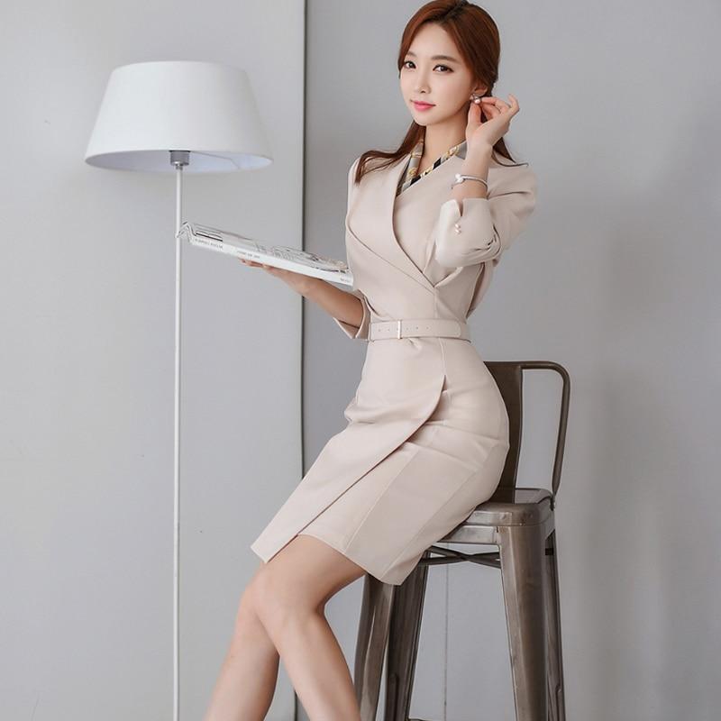 BGTEEVER Office Ladies V-neck Pencil Dress Work Business Mid-length Women Dress Femme Sashes Slim Waist Vestidos 2020 Spring