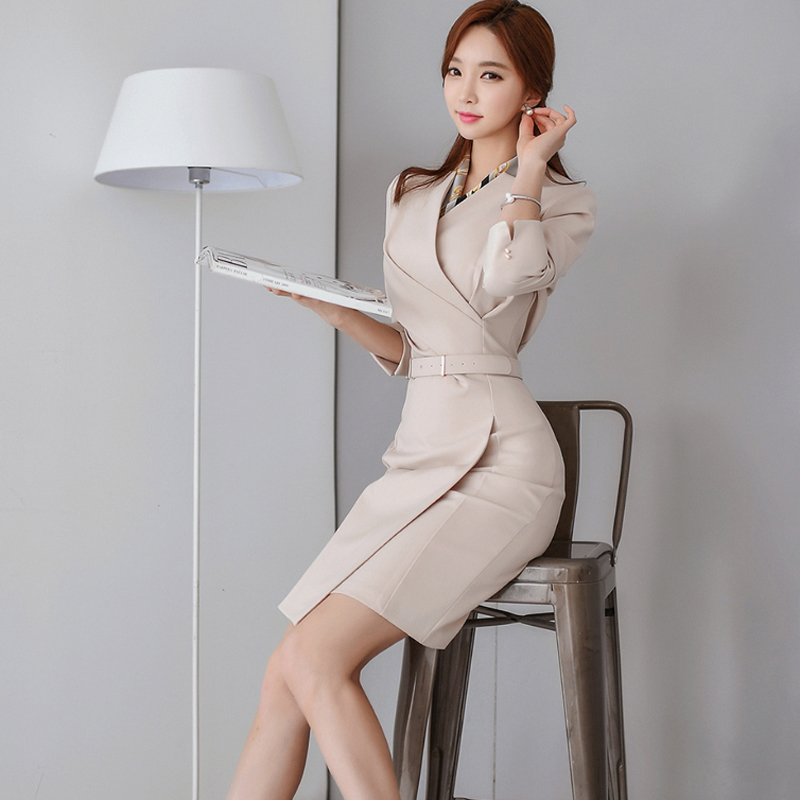 Office Ladies V-neck Pencil Dress Work Business Mid-length Women Dress Femme Sashes Slim Waist Vestidos 2018 Autumn