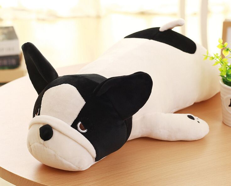 big lovely plush Bulldog toy soft black&white lying dog pillow doll about 85cm 2713