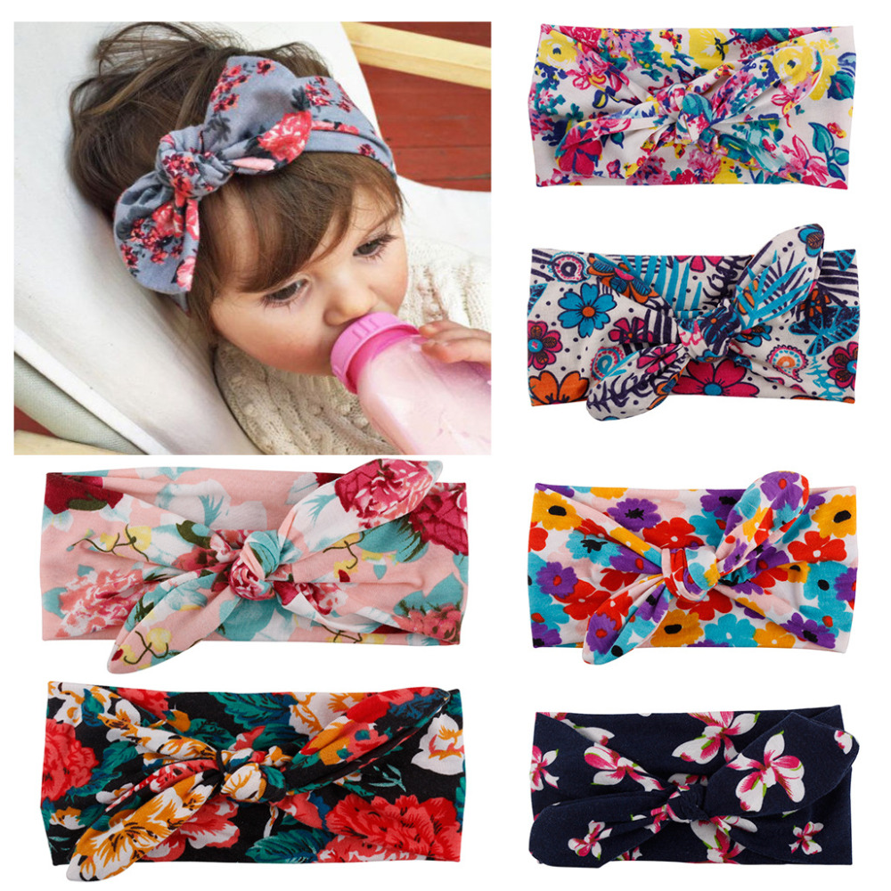1 X Bebe Kids Girl Flower Bow Hairband Turban Knot Rabbit Bowknot Headband Headwear NEW Hair Band Accessories 1 pc women fashion elastic stretch plain rabbit bow style hair band headband turban hairband hair accessories