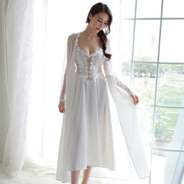 새로운 여성 속옷 레이스 드레스 궁전 절묘한 아름다움 섹시한 nightdress 긴 레이스 잠옷 여성 슬링 드레스 + 가운 2 조각 세트