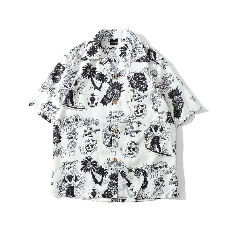Tops Short-Sleeve Hawaiian-Shirts Skull-Print Summer Streetwear Harajuku New Hip-Hop