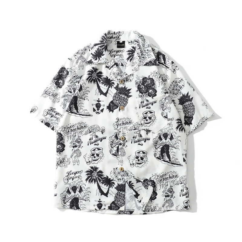 New Skull Print Hawaiian Shirts Men 2019 Summer Hip Hop Streetwear Harajuku Tees Shirts Casual Short Sleeve Tops Beach Shirt