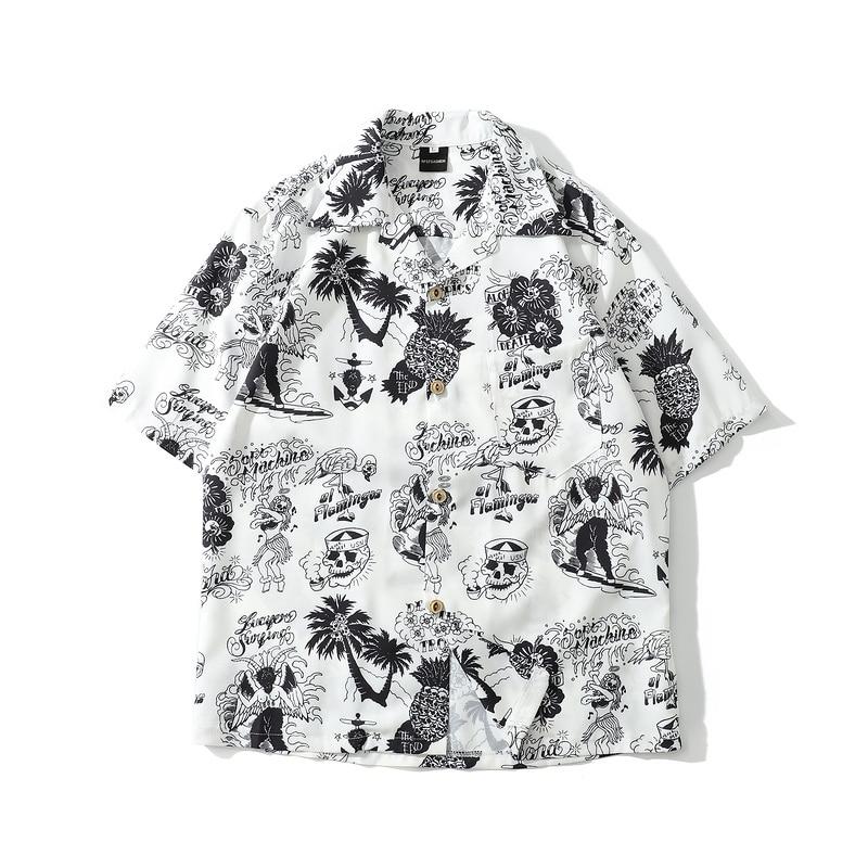 New Skull Print Hawaiian Shirts Men 2019 Summer Hip Hop Streetwear Harajuku Tees Shirts Casual Short Sleeve Tops Beach Shirt