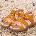 2016, лето, новый противоскользящие мальчик детская обувь детская мода дышащая sfot кожаные сандалии