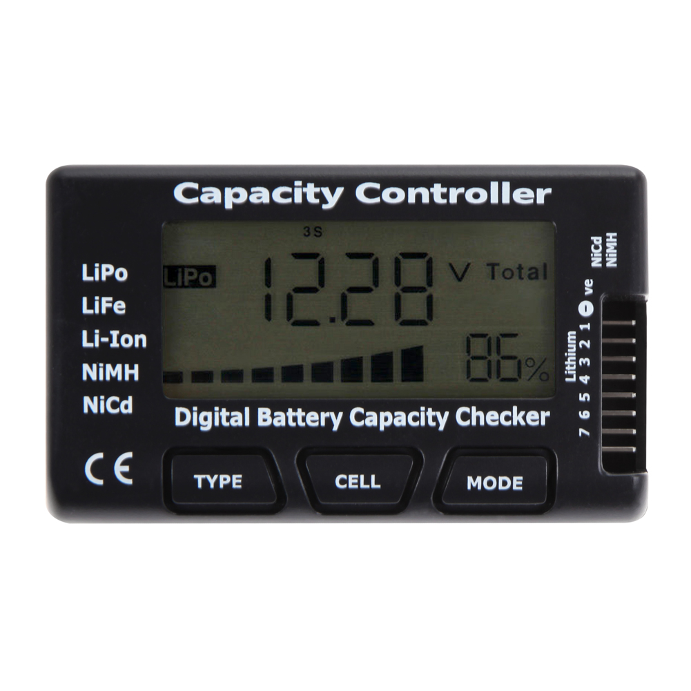 LCD Digital Battery Tester Checker Battery Capacity Voltage Checker Tester for LiPo LiFe Li Battery Power Supply Meter