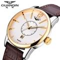 Marca de relojes de lujo para hombres de negocios guanqin relojes de alta calidad correa de cuero impermeable reloj hombres reloj de cuarzo reloj de pulsera de regalo