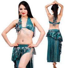 Bellydance oriental leopard belly Indian gypsy dance practice performance green/red costumes set 3 pcs(bra+belt+skirt)