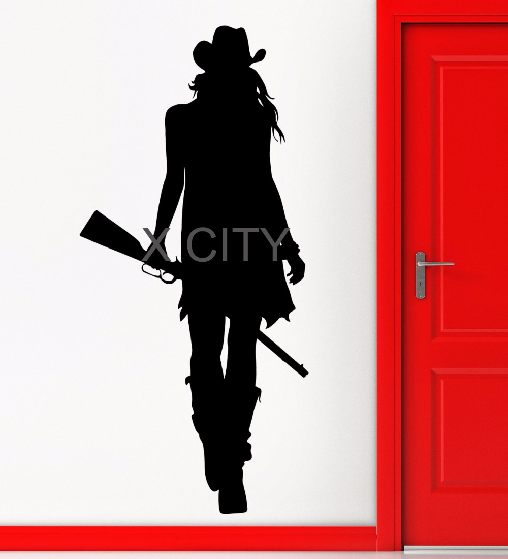 Cowgirl Texas Wild West Rifle Gun American Style Wall Art Sticker Die Cut Vinyl Decal Home Room Decor
