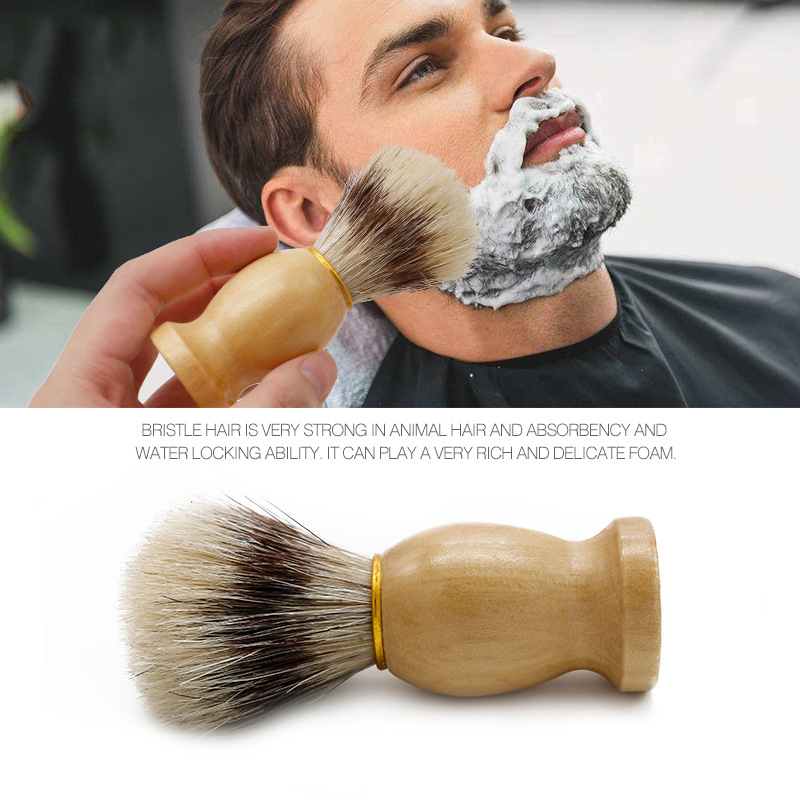 Mythus Barber Brush For Shaving Beard Hair Cleaning Appliance Tool Men's Moustache Care Grooming Shaving Brush With Wood Handle