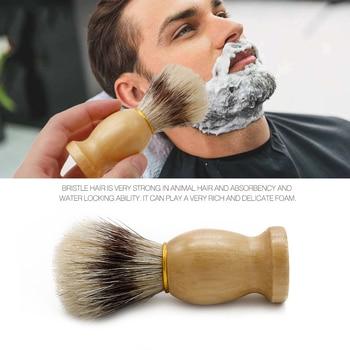 Mythus Barber Brush For Shaving Beard Hair Cleaning Appliance Tool Men's Moustache Care Grooming Shaving Brush With Wood Handle