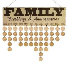 Wood Colorful Wooden Birthday Reminder Sign Family Friends Date Mark DIY Hanging Calendar Board for Family Friends 2018 Gift