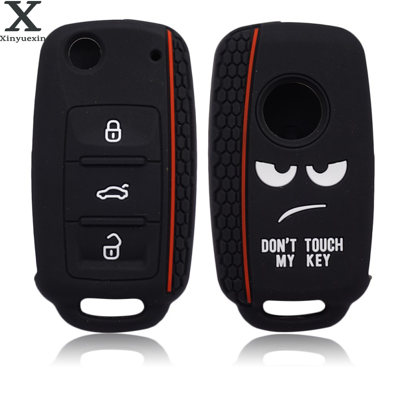 Xinyuexin Dont Touch My Key Silicone Car Key Cover Case for VW  Golf  Polo Passat Scirocco Tiguan for Skoda Octavia Seat