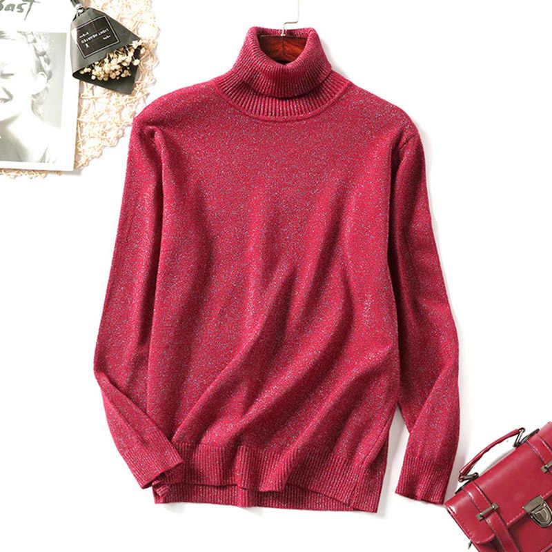 Heißer Shiny Lurex Pullover Frauen Rollkragen Pullover Weibliche Stricken Pullover Pullover Frauen Winter Pullover Frauen Schlank Jumper Pull Femme