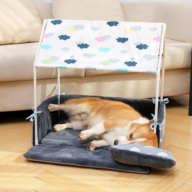 Lit lavable en forme de chien pour la maison   Tente pour chien, niche pour animal domestique, maison confortable amovible pour chiot, chiens chat petits animaux, produits pour la maison