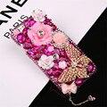 Artesanal que bling strass diamante borboleta casos para iphone 6 s 4S 5S 6 6 plus 7 7 além de flores coloridas pérola rígido de volta cobrir