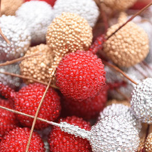 40pcs Artificial Foam Stamen Fruit Berry Gold Silver Red Flowers Bouquet DIY Craft Decor For Wedding Home Party Supplies