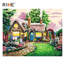 RIHE Country House Diy Painting By Numbers Abstract Garden Oil On Canvas Cuadros Decoracion Acrylic Modern Wall Art