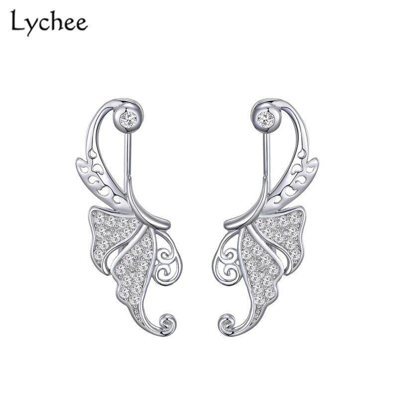 Lychee Hollow butterfly Zircon Women Clip Earrings 925 Sterling Silver Earrings Silver 925 Jewelry Fine Jewelry Fashion
