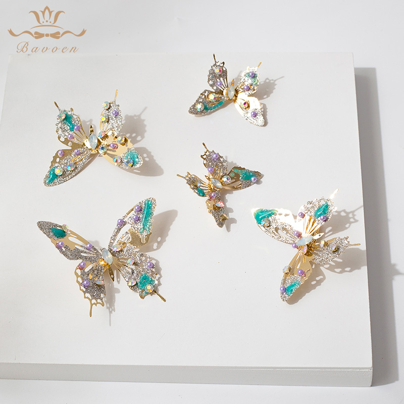 Bavoen European Gold Butterfly Wedding Hair Sticks Handmade Crystal Brides Hair clips Tiara Crown Bridal Hairpin-in Hair Jewelry from Jewelry & Accessories on Aliexpress.com | Alibaba Group
