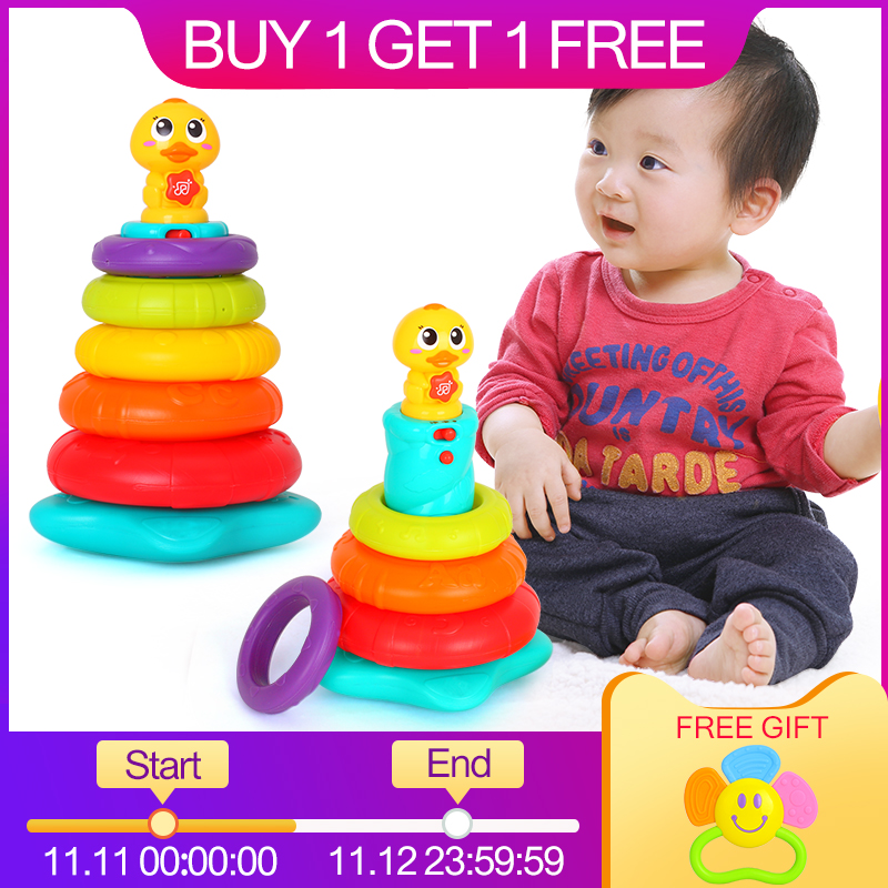 HUILE TOYS 2101 Kids Rainbow Stacking Duck Baby Toy with Colorful Rings Stackers with Music & Sounds & Lights Toys for Children цена 2017