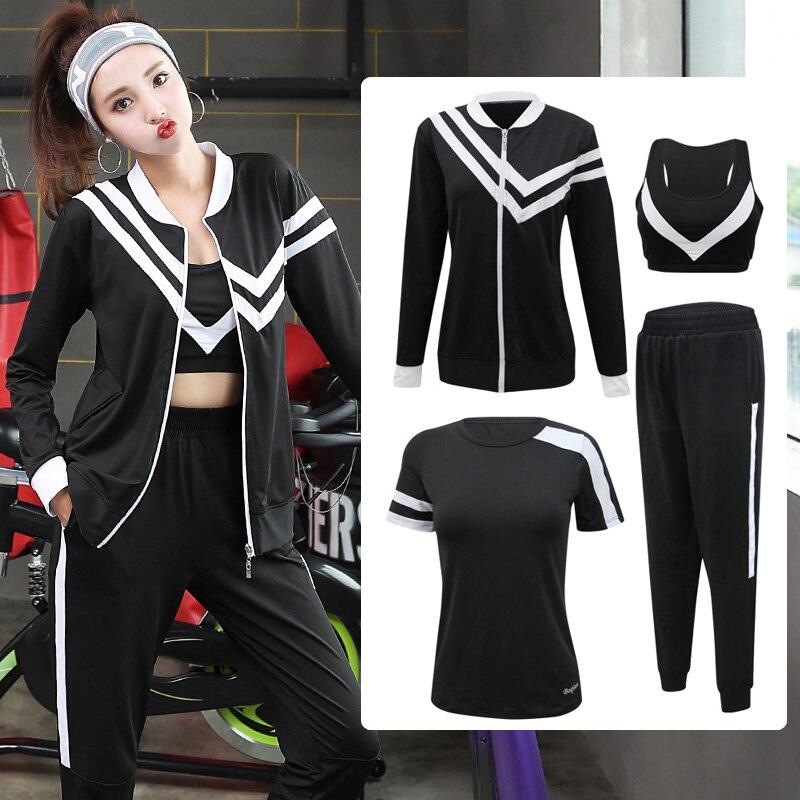 4 pcs Femmes Sport Costume Survêtement Yoga Set Zipper Veste + T-Shirt + Soutien-Gorge + Pantalon Costume De Gym vêtements d'entraînement Fitness Sportwear Pour Les Femmes