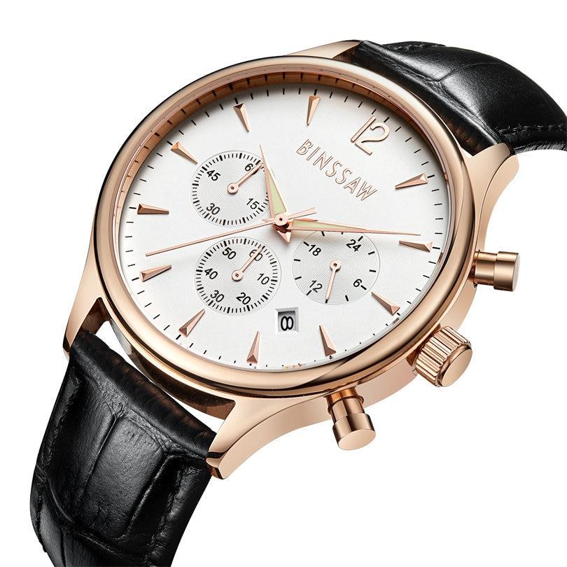 BINSSAW 2017 nieuwe heren kijken luxe merk Fashion Casual 100M leer - Herenhorloges - Foto 3