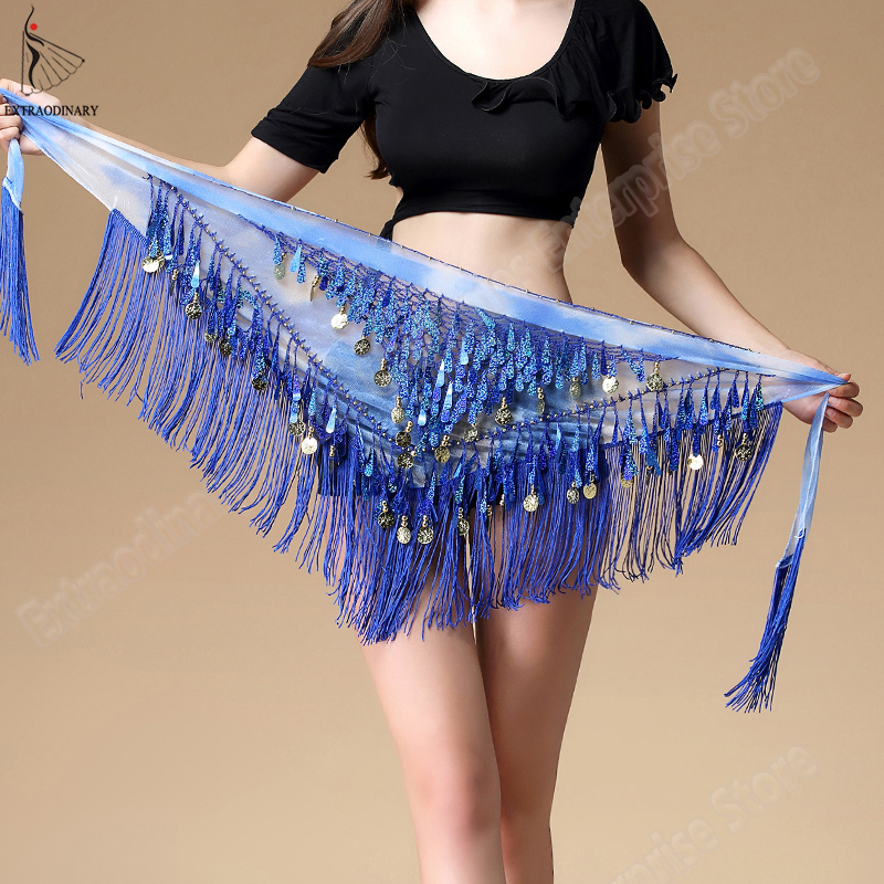 New Women Bellydance Hip Scarf For Oriental Dances Tassel Triangle Wrap Costume Accessories Belt Shawl Chiffon Hand kerchief in Belly Dancing from Novelty Special Use