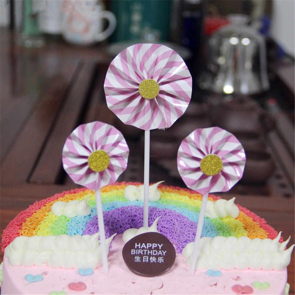 CRLEY 3 pz/pacco decorazione di una torta toppers A Strisce Girandola Forma Nero Blu Rosa Rosso A Mano di Girasole Collection Cake Toppers