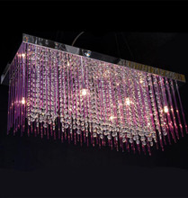 Romántico púrpura varilla de vidrio y cristal claro colgante luces luminaria comedor Cocina cafetería Bar luz led luces de cristal