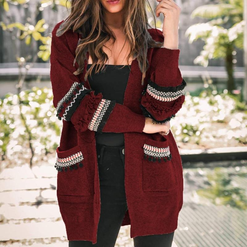 2019 Women Long Sleeve Knitted Cardigan Sweater Casual Autumn Coats Outwear Long Fashion Hairball Winter Harajuku Veste Femme