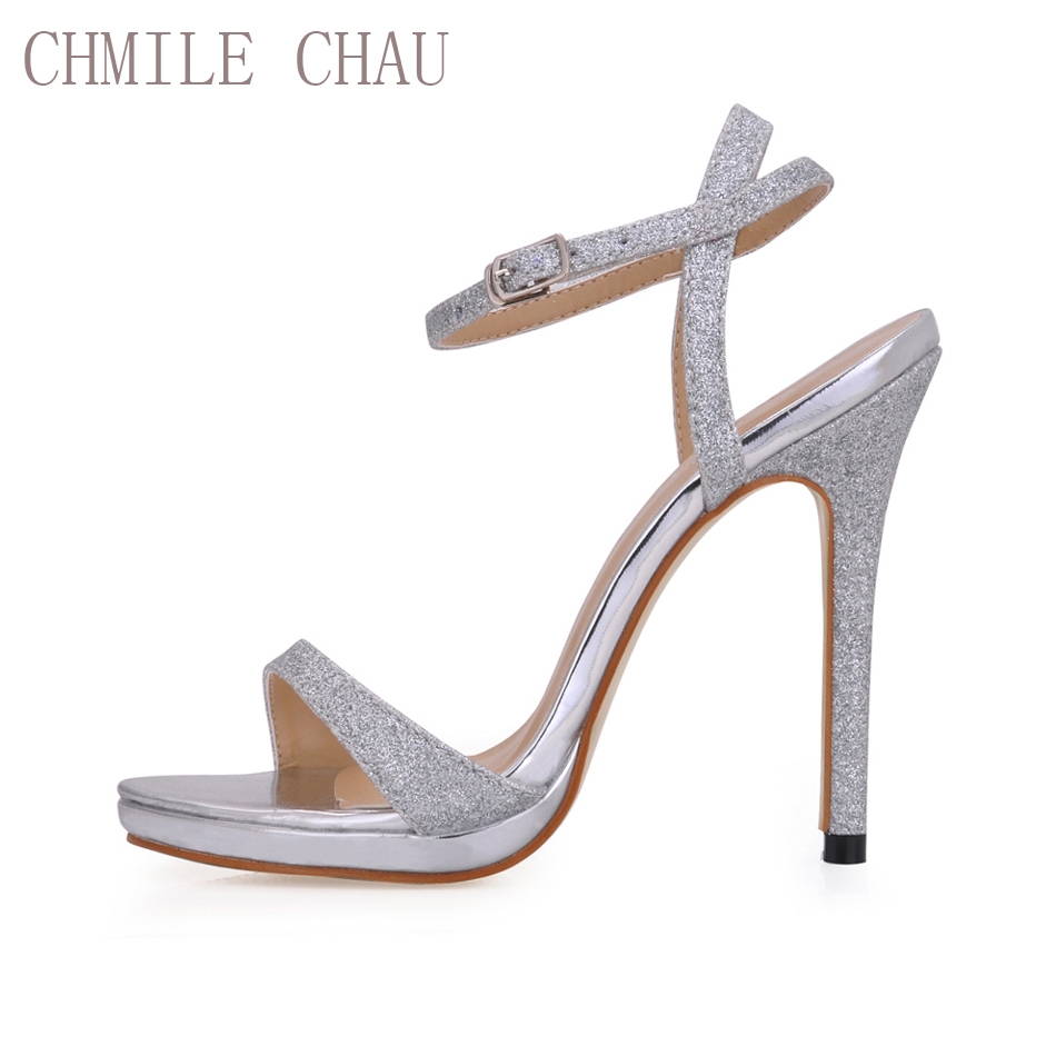 CHMILE CHAU Glitter Elegant Bridal Women Skor Stiletto High Heel - Damskor
