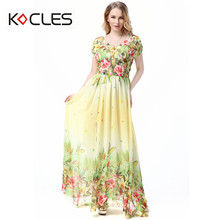 New Plus Size 6 7XL Women Summer Holiday Beach Elegant Modest Maxi Chiffon Fit and Flare Flower Print V Neck Party Bodycon Dress цены