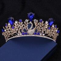 Baroque Peacock Crown Retro Blue Crystal Tiara Hair High Grade Bride Wedding Dress Jewelry Accessories