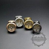 20mm rotonda tourbillon argento, oro rosa, oro, pistola nera punk a vapore movimento orologio gemelli polsino di modo links 6600070