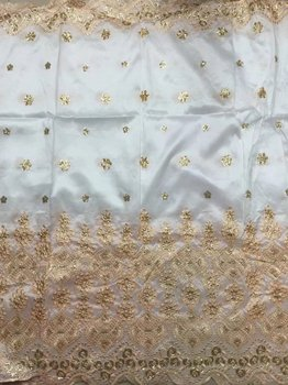 Newest Arrived African Embroidery Raw Silk George Fabric,White Color George Lace Fabric With Gold Sequins 5 yards/piece B8G36-2
