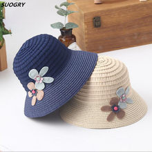 e91c2250f54 Summer Holiday Sun Hats For Girl Foldable Straw Large Brim Summer Hats  Vintage Simple Folding Flower