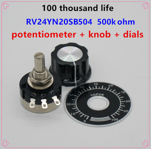 2pcs RV24YN20S B504 500k ohm Carbon film potentiometer single-turn potentiometer + 2pcs A03 knob + 2pcs dials(China)
