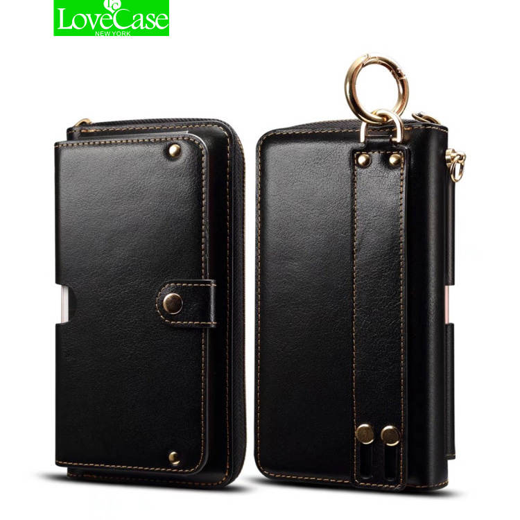 LoveCase Fashion genuine leather Lanyard Flip Wallet Leather Case For iPhone 8 7 Plus 5.5inch Phone Bag handbag Cover case
