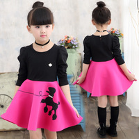 Spring Fashion Kids Dresses 100 Cotton Girls Long Sleeve Dresses Little Horse Print Cute Costumes Children