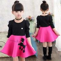 春のファッション子供ドレス100%綿の女の子ロングスリーブドレスリトル馬プリントかわいい衣装子供服