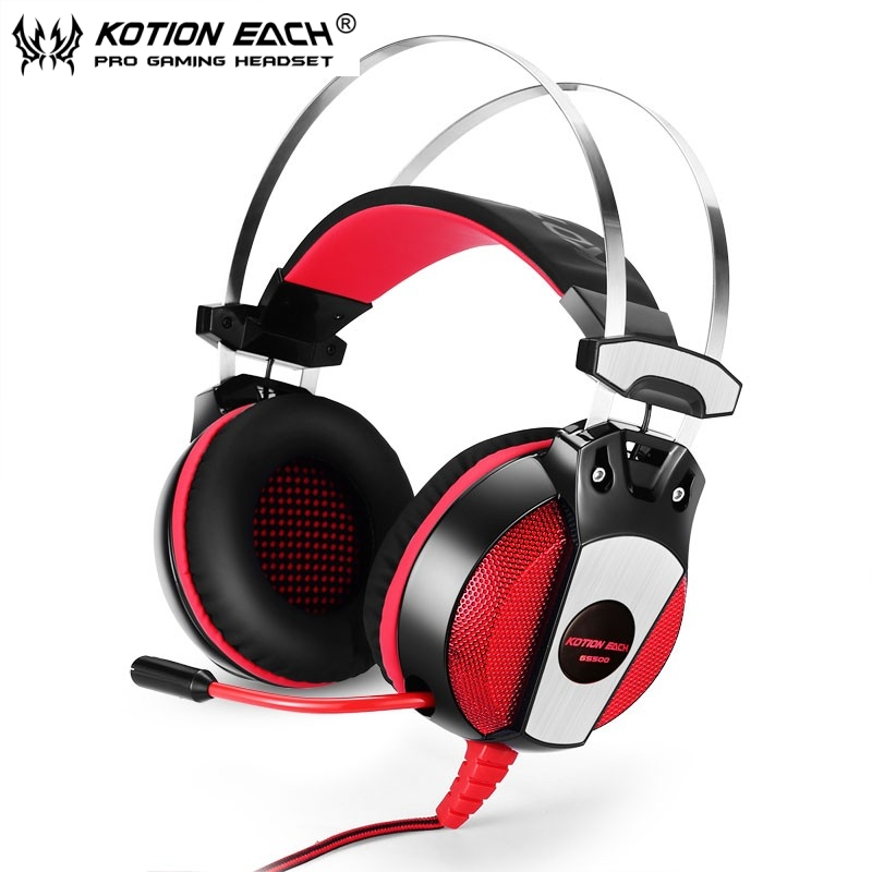 KOTION EACH GS500 3.5mm Game Earphone Metal Headband with Mic Stereo Bass LED Headphones for PC Computer Laptop Mobile Phones