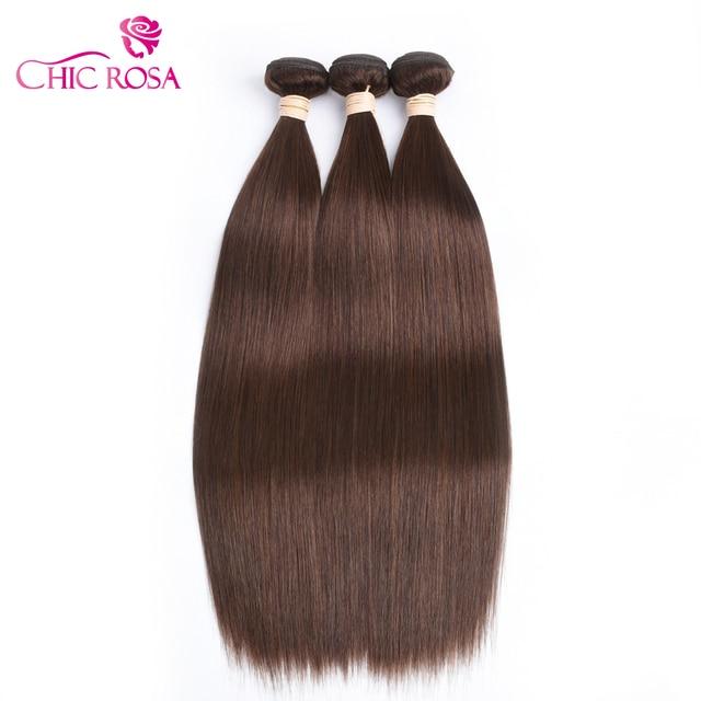 Chic Rosa Human Hair Bundles Straight Remy Hair 4 Light Brown Human