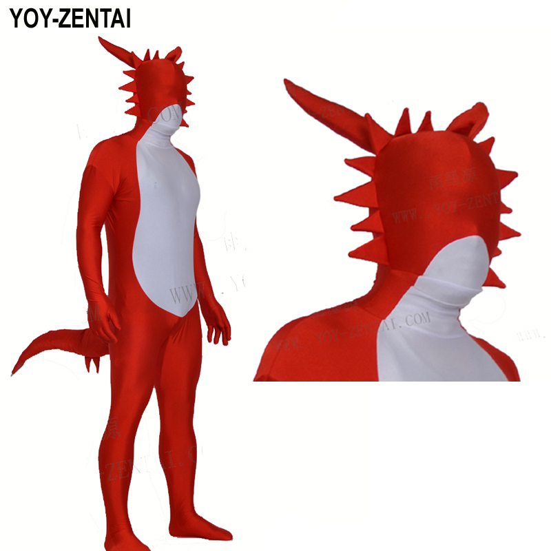 YOY-ZENTAI High Quality Custom Made Red Dragon Costume With Tail Fullbody Spandex Lycra Dragon Suit