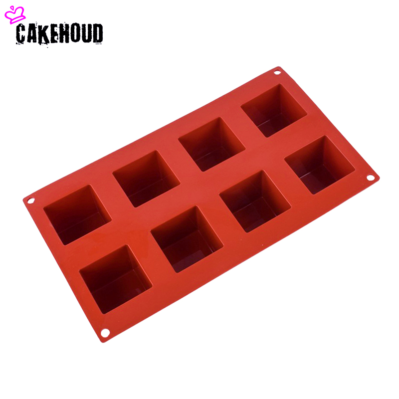 CAKEHOUD 8 holes Small Square 3D Shape Non Stick Silicone Cake Mold for Baking DIY Jelly Muffin Mousse Ice creams Chocolate Tool in Cake Molds from Home Garden
