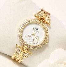 2016 бренд Женской Моде Часы Высокое Качество Австрийский Алмазный Женщины Rhinestone Часы, розовое Золото Девушку Леди Платье Часы Часы