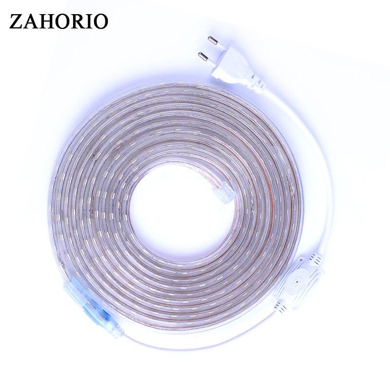 SMD 5050 AC220V LED Strip Flexible Light 60leds/m Waterproof Led Tape LED Light With Power Plug 1M/2M/3M/4M/5M/6M/8M/9M/10M/25M